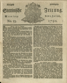 Königlich privilegirte Stettinische Zeitung. 1792 No. 53 + Beylage
