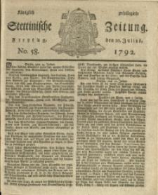 Königlich privilegirte Stettinische Zeitung. 1792 No. 58 + Beylage