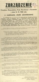 [Afisz] Zarządzenie Prezydium Wojewódzkiej Rady Narodowej w Szczecinie z dnia 15. VI. 1950 roku o zwalczaniu stonki ziemniaczanej