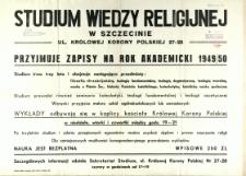 [Afisz] Studium Wiedzy Religijnej w Szczecinie