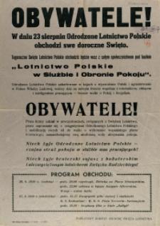 [Afisz] Obywatele! : [Święto Odrodzonego Lotnictwa Polskiego]