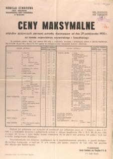[Afisz] Ceny maksymalne artykułów spożywczych pierwszej potrzeby obowiązujące od dnia 29-go października 1950 r. na terenie województwa szczecińskiego i koszalińskiego