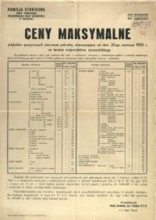 [Afisz] Ceny maksymalne artykułów spożywczych pierwszej potrzeby obowiązujące od dnia 20-go czerwcia 1950 r. na terenie województwa szczecińskiego