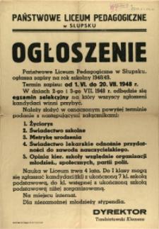 [Afisz] Ogłoszenie : Państwowe Liceum Pedagogiczne w Słupsku ogłasza zapisy na rok szkolny 1948/49