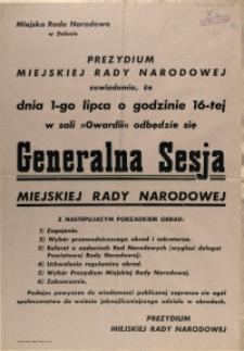 [Afisz] Generalna Sesja Miejskiej Rady Narodowej