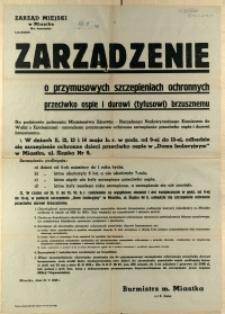 [Afisz] Zarządzenie o przymusowych szczepieniach ochronnych przeciwko ospie i durowi (tyfusowi) brzusznemu