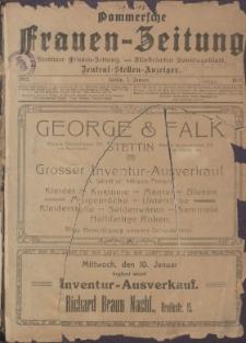 Pommersche Frauen-Zeitung : Stettiner Frauenzeitung : illustriertes Sonntagsblatt. 1912 Nr.1