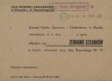 [inc.:] Zarząd Cechu Szewców i Cholewkarzy w Słupsku zawiadamia [...]