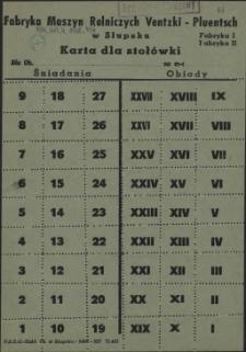 Karta dla stołówki