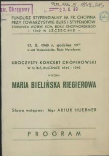 [Inc.:] Uroczysty Koncert Chopinowski