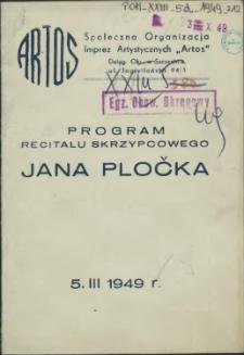 Program Recitalu Skrzypcowego Jana Pločka