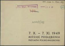[Zaproszenie. Inc.:] 7. X. - 7. XI. 1949 Miesiąc Pogłębiania Przyjaźni Polsko-Radzieckiej