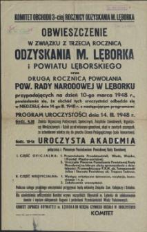 [Afisz] Obwieszczenie w związku z trzecią rocznicą odzyskania m. Lęborka i powiatu lęborskiego oraz drugą rocznicą powołania Pow. Rady Narodowej w Lęborku