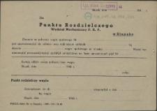 [Inc.:] Do Punktu Rozdzielczego Wydział Mechaniczny P.K.P. w Słupsku