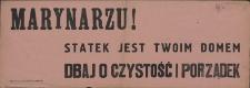 [Afisz. Inc.:] Marynarzu! [...]
