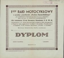 """Dyplom : I-szy Rajd Motocyklowy o puchar przechodni """"Kuriera Szczecińskiego"""""""