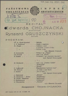 [Afisz] Recital [Edwardy Chojnackiej i Ryszarda Gruszczyńskiego]