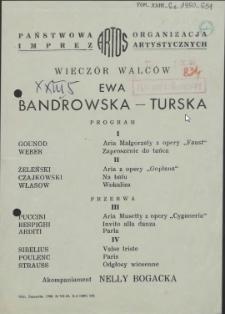 [Afisz] Wieczór walców : Ewa Bandrowska-Turska