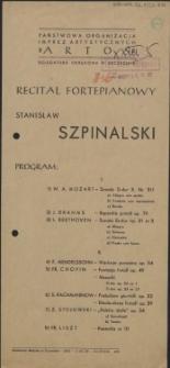 Recital fortepianowy Stanisław Szpinalski