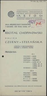 Recital chopinowski Halina Czerny-Stefańska