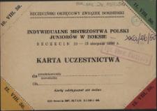 Indywidualne Mistrzostwa Polski Juniorów w Boksie Szczecin 10-13 sierpnia 1950 r.
