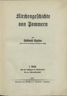 Kirchengeschichte von Pommern. Bd. 1, Von den Anfängen des Christentums bis zur Reformationszeit