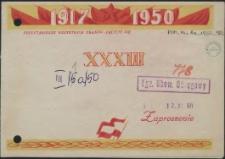 Zaproszenie [Inc.:] Zapraszamy Tow. [...] na uroczystą akademię z okazji XXXIII Rocznicy Wielkiej Październikowej Rewolucji Socjalistycznej [...]