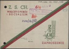 Zaproszenie [Inc.:] [...] Wojewódzki Zjazd Delegatów Związku Samopomocy Chłopskiej [...]