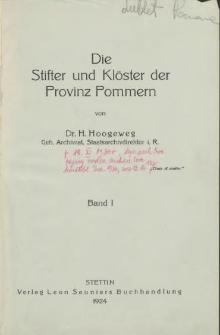 Die Stifter und Klöster der Provinz Pommern. Bd. 1