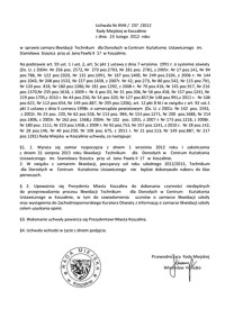 Uchwała Rady Miejskiej w Koszalinie nr XVIII/237/2012