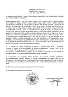 Uchwała Rady Miejskiej w Koszalinie nr XVIII/240/2012