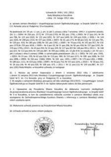 Uchwała Rady Miejskiej w Koszalinie nr XVIII/243/2012