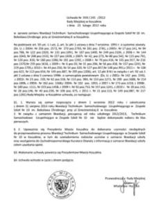 Uchwała Rady Miejskiej w Koszalinie nr XVIII/245/2012