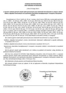 Uchwała Rady Miejskiej w Koszalinie nr XVIII/248/2012