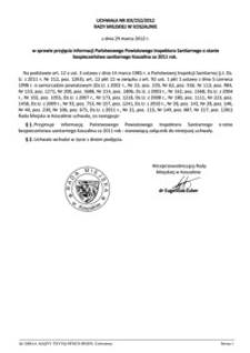 Uchwała Rady Miejskiej w Koszalinie nr XIX/252/2012