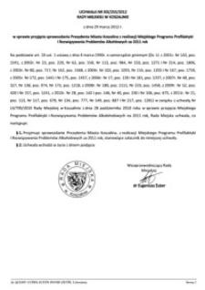 Uchwała Rady Miejskiej w Koszalinie nr XIX/255/2012
