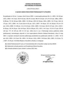 Uchwała Rady Miejskiej w Koszalinie nr XIX/260/2012