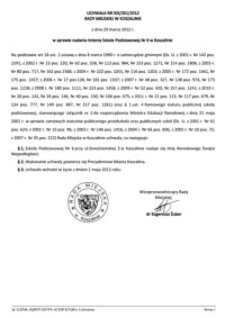 Uchwała Rady Miejskiej w Koszalinie nr XIX/261/2012