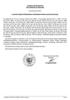 Uchwała Rady Miejskiej w Koszalinie nr XIX/263/2012