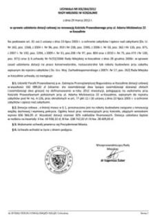 Uchwała Rady Miejskiej w Koszalinie nr XIX/264/2012
