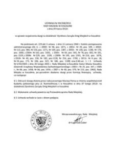 Uchwała Rady Miejskiej w Koszalinie nr XIX/268/2012