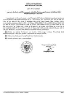 Uchwała Rady Miejskiej w Koszalinie nr XIX/269/2012