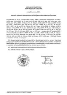 Uchwała Rady Miejskiej w Koszalinie nr XX/270/2012