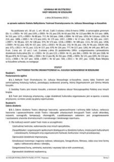 Uchwała Rady Miejskiej w Koszalinie nr XX/278/2012