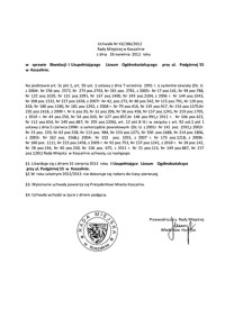 Uchwała Rady Miejskiej w Koszalinie nr XX/286/2012