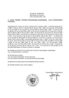 Uchwała Rady Miejskiej w Koszalinie nr XX/288/2012