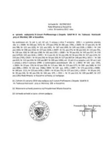 Uchwała Rady Miejskiej w Koszalinie nr XX/299/2012