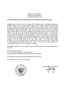 Uchwała Rady Miejskiej w Koszalinie nr XX/302/2012