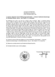 Uchwała Rady Miejskiej w Koszalinie nr XX/305/2012