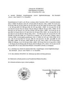 Uchwała Rady Miejskiej w Koszalinie nr XX/308/2012
